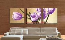 Free Shipping For Decorative Modern Oil Painting Pictures No Frame Entranceway Flower Mosaic Purple Painting Abstract Canvas Art