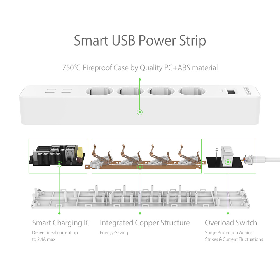 NTONPOWER NSC Smart EU Electrical Plug Socket Extension Lead 4 AC Outlets Power Strip with 4 Ports USB Charger Surge Protection 12