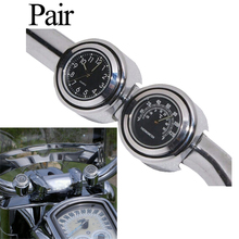 "Black Motorcycle Handlebars Dial Clock Watch Temp Thermometer Universal 7/8""1""For Harley Cruiser Chopper Honda Yamaha Cafe Racer(China)"