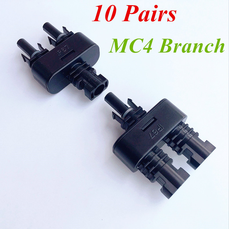 10 Pairs X Solar Panel Parallel Connection MC4 Branch 2 in 1 T Y Branch Adaptor<br>
