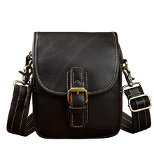 Brand Vintage Genuine leather Mini Casual Bag Men's Small Messenger ShoulderBag Belt Waist Pack Hand-Made Multi-functions(China)