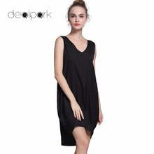 Novelty Fashion Sleeveless Tank Dresses High Low Hem Loose Casual Summer Dress V Neck Asymmetric Shift Loose Women Clothing(China)
