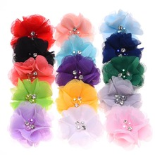100PCS Pearl Chiffon Flower for Hair Accessories DIY flowers for  Headband Handmade Hair flower Without Hairclip Hairbow