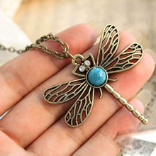 LNRRABC  Retro Vintage Dragonfly Long Pendants Necklaces Female Sweater Chain Necklace Woman Fashion Jewelry Party Accessories