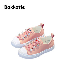 Bakkotie 2017 New Child Spring Autumn Baby Girl Leisure Shoe Crystal Pink Genuine Leather Kid Brand Breathable Girl Sneaker Soft