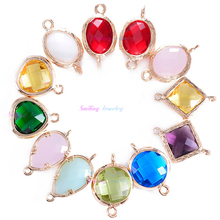 24pcs Mixed Oval Faceted Framed Charms CZ Zircon Birthstone Necklace Pendants Glass Bezel Bracelet Connector For DIY Jewelry(China)