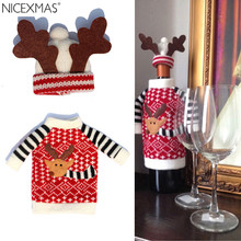 1pc Clothes + 1pc Hat Red Christmas Reindeer Wine Bottle Bags Decoration For Dinner Table Home Party New Year Xmas(China)