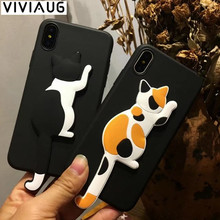 Hot Sale Fashion Cute Cat Dog Case For Apple iPhoneX 6 6S Plus 8 7 Plus Cell Phone Cases Soft TPU Cartoon Back Cover stand Coque