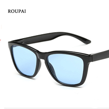 ROUPAI Blue Sunglasses Woman Sun Glasses For Men 2017 Glass Wrap Black Plastic Frame Flat Panel Lens Cheap Sunglasses China 0716