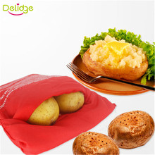 Delidge 1PC Red Washable Potato Bag For Microwave Oven Quick Fast (Cooks 4 Potatoes At Once)  Steam Pocket In 4 Minutes