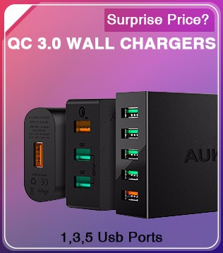 AUKEY Quick Charge 3.0 30000mAh Power Bank Dual USB Output Mobile Portable Charger External Battery for iPhone Xiaomi Samsung LG