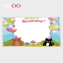Custom Microfiber Ultra Soft Bath/hand Towel,Birthday Decorations for Kids Party Black and Brown Cats Cakes Balloons Heart Polka(China)