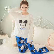New Women Pajamas Sets autumn long Sleeve Thin Cartoon Print Cute Loose Sleepwear Girl pijamas Mujer Leisure Nightgown Women(China)