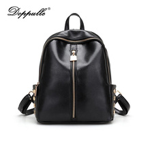 DOPPULLE Brand Fashion Women Backpacks Rivet Black Soft Washed Leather Bag Schoolbags For Girls Female Leisure Bag mochilas