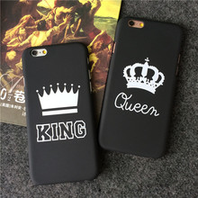 Retail New Arrival Gold Text White Background Queen King Crown For Apple iPhone 5S 5se 6 6s 7 7Plus Protective Phone Cover Case