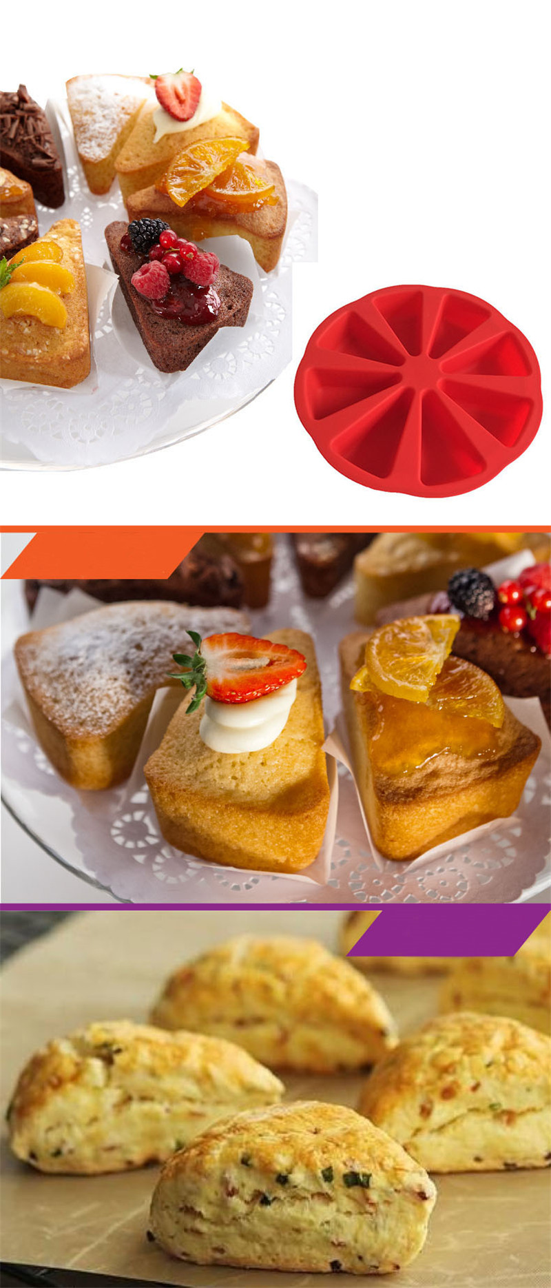 Bakeware Molds Cake Pan Silicone Cake Mold Pudding Triangle Cakes Mould Muffin Baking Tools Fondant  Cake Molds5
