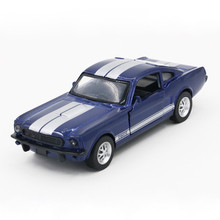 Alloy Racing Toy Car 1966 Ford Mustang GT350CR Model Cars Door Open Rubber Tire Metal Body Toy Car for Children Collection(China)