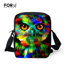 Designer Male Shoulder Bag Fashion Canvas Boys Satchel Bags Handbag Cool Owl Crazy Horse Print Messenger Bag for Children Kids