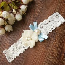1pcs Wedding Vintage Garter Ivory Chiffon Flower with Pearl and Something blue Bridal Lace garter(China)