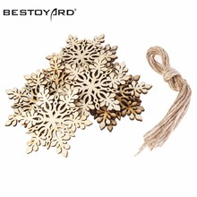 10pcs Merry Christmas Tree Hanging White Snowflake Ornaments Decoration Christmas Holiday Party Home Decor (Wood Color)(China)