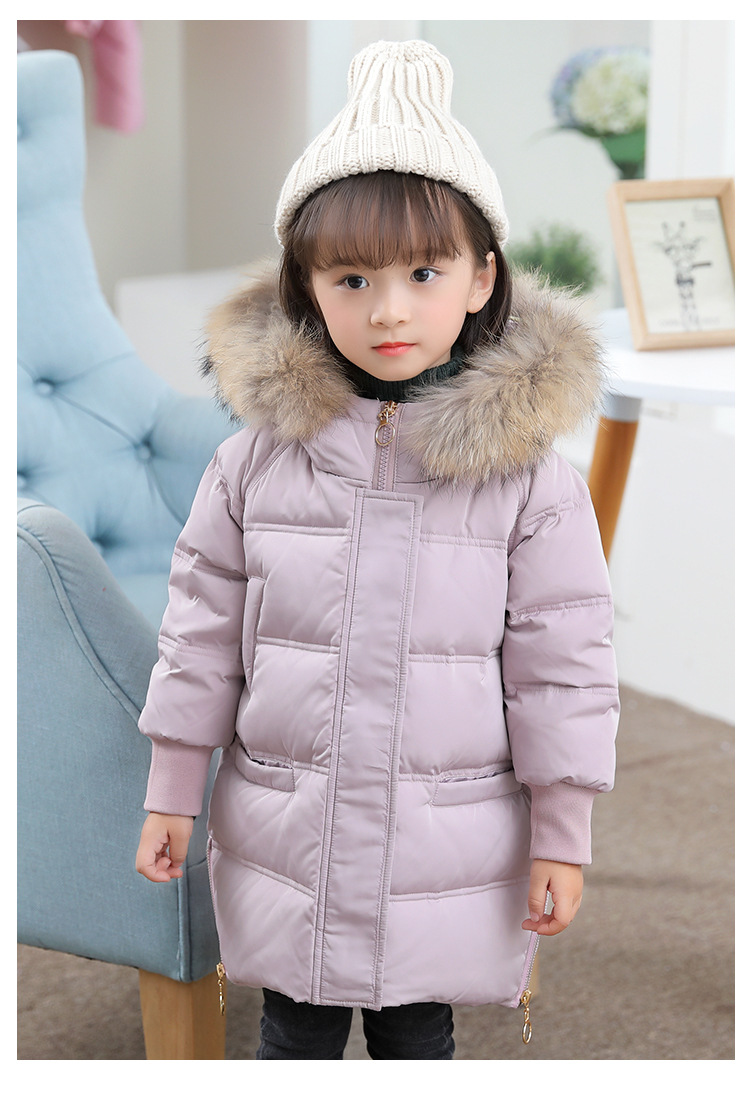 Baby Girls Hige Quality Warm Down Outwear Jacket 2017 WinterKids Clothing Coat for Girls Thick Duck Down Fur Collar Hooded Coat <br>