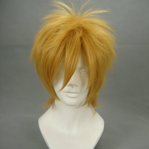 ~VOCALOID ,Kagamine Len, 435,Gold short shaggy layered cosplay costume wig Heat resistant fibre  free shipping<br><br>Aliexpress