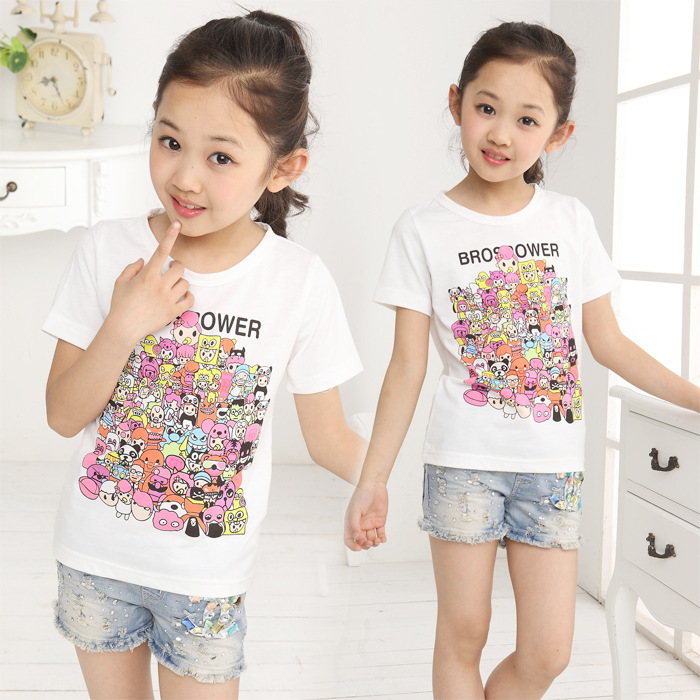 2017 summer barnd new big girls T-shirt children c...