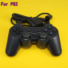 Black Color Wired Controller For Sony Playstation 2 Gamepad Double Vibration Controle For Sony PS2 Joystick(China)