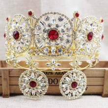 ZerongE jewelry 3.5inch gold full round crown pageant miss world rhinestone prom hair jewelry red crown with earring matching