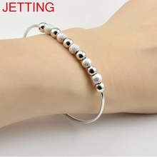 JETTING Chic Silver Plated Beads Ball Bangle Cuff Bracelets Women Hand Jewelry 2016 Hot(China)
