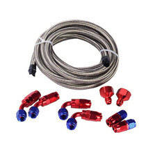 AN6 Oil Fuel Gas Hose Line 3M Silver Hose AN6 Fuel Hose Fitting Braided Line Hose Kit With Swivel Fuel Fittings