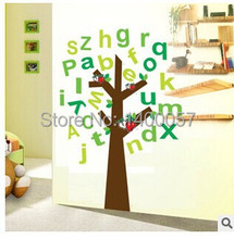 AY9070 Free Shipping DIY removable paper home decoration wall stickers home decals vinyl wallpaper apple tree English alphabet(China)