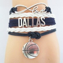 3pcs/lot infinity love dallas basketball bracelets charm cheer dallas basketball souvenir hot sale team gift