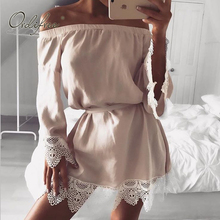 Ordifree 2017 Summer Off Shoulder Sexy Dress Boho Women Mini Beach Dress Long Sleeve Pink Lace Crochet Loose Sexy Short Dress