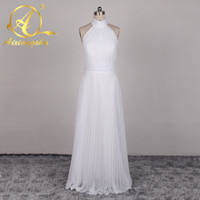 Buy Chiffon Beach Wedding Dress Halter Backless Bride Gown Floor Length Vestido De Noiva Tank Empire Waist Bride Gown for $85.59 in AliExpress store
