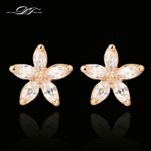Buy Double Fair AAA+Cubic Zircon Flower Rose Gold Color Stud Earrings Wholesale Fashion Engagement Crystal Jewelry Women DFE062 for $3.44 in AliExpress store
