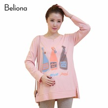 Funny Maternity Shirts Fall Winter Pregnancy T shirt Pregnant T-shirt Maternity Tee Shirts Ropa Premama Pregnancy Clothes(China)