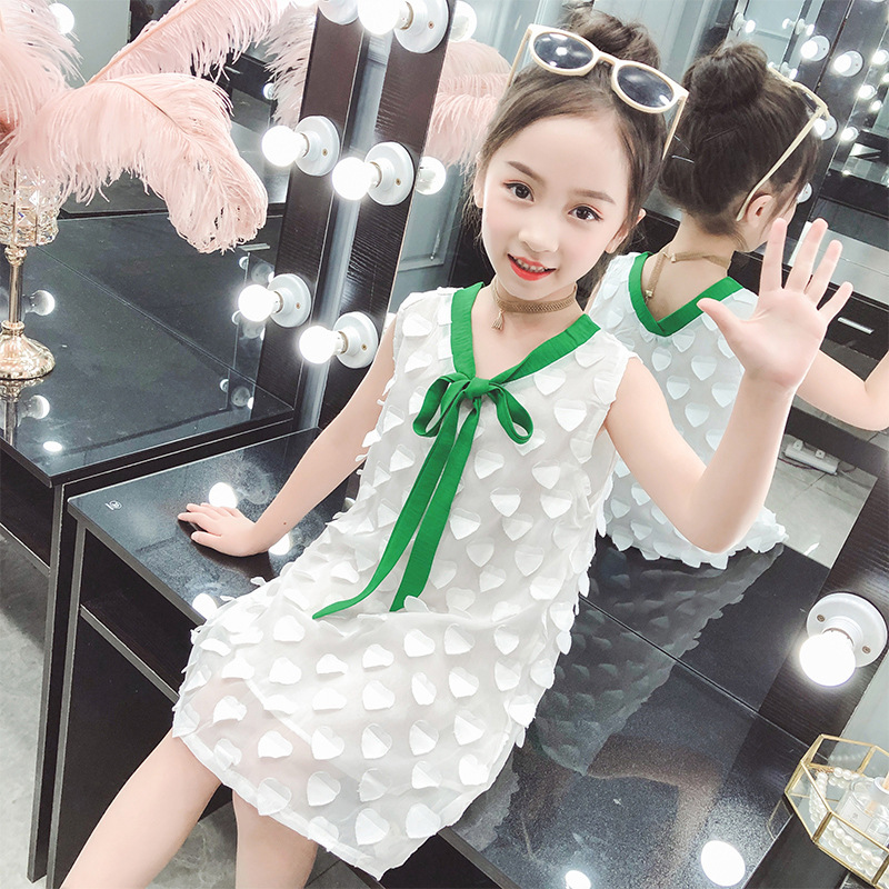 sleeveless white girls dress princess with ribbon o-neck 2019 summer kids dresses for girl kid clothes cute 4-9 years