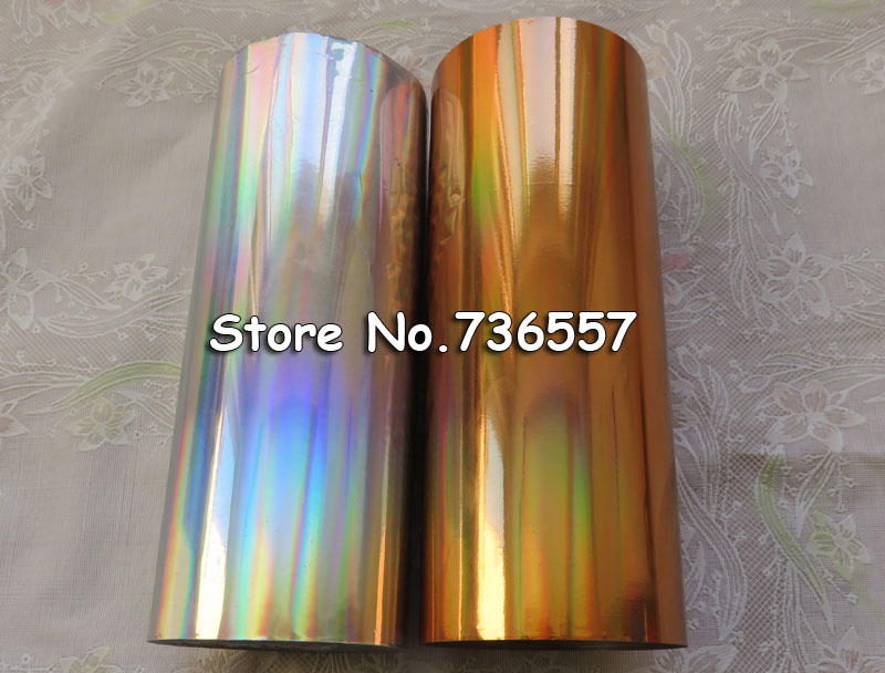 [2 rolls/lot ] Hot stamping foil (laser gold color+laser silver color) hot stamping on paper or plastic 16cmx120m<br>