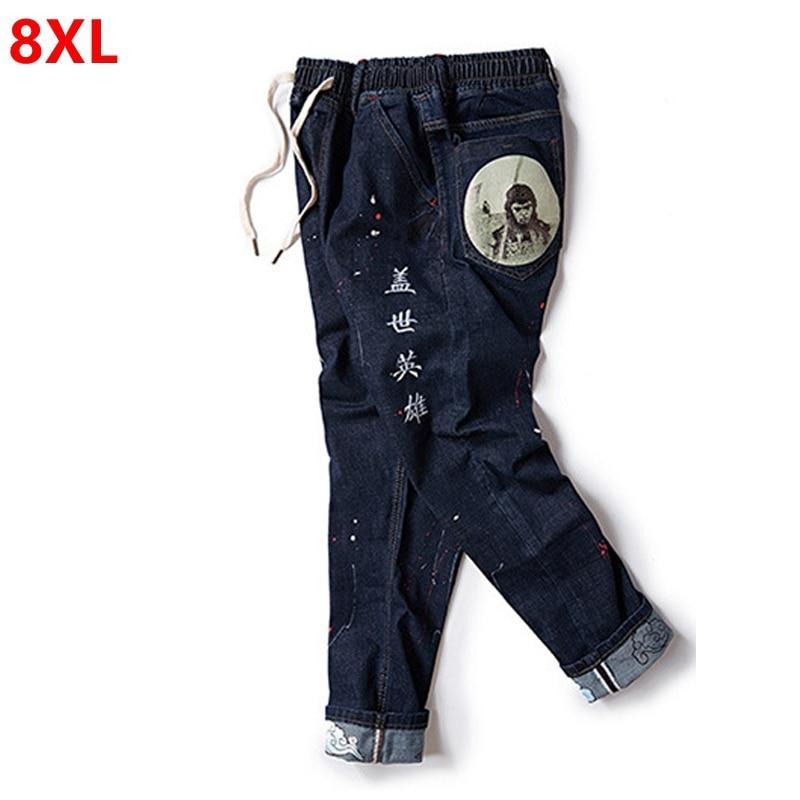 Autumn and new big size jeans plus size mens trousers casual casual personalized color print pants 8XL 7XL 6XLÎäåæäà è àêñåññóàðû<br><br>