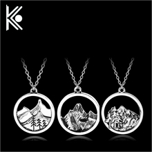 3 style Lovely Fashion mountain necklace nature pendant Lover Gift Live the simple life tree Women pendant birthday gift