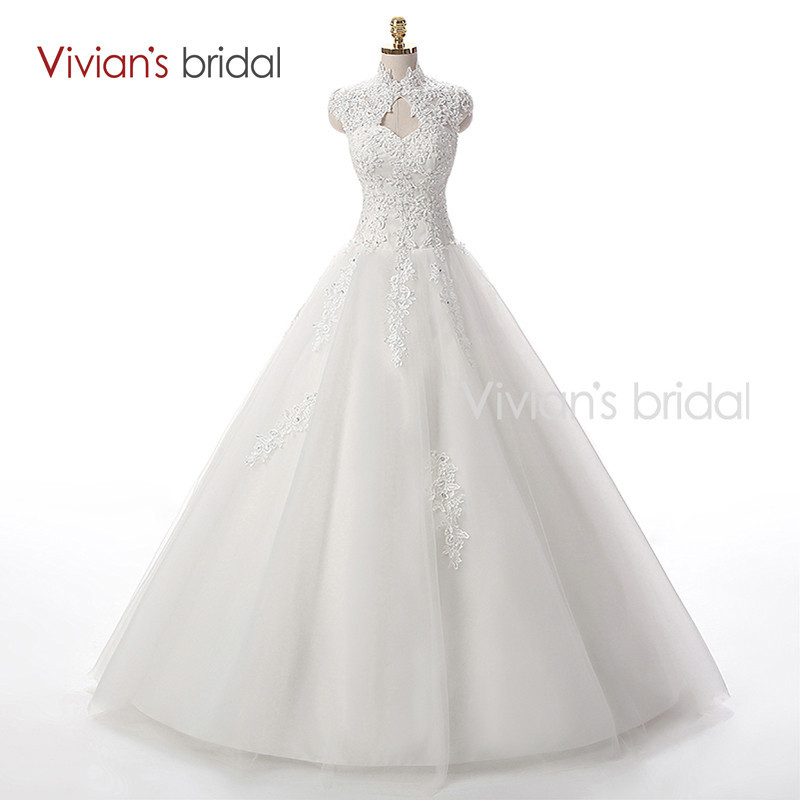 Vivian\'s Bridal A Line Lace Tulle Wedding Dresses