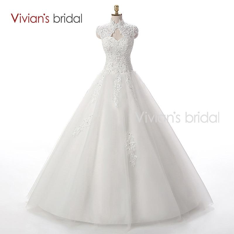 Vivian\'s Bridal A Line Lace Tulle Wedding Dresses