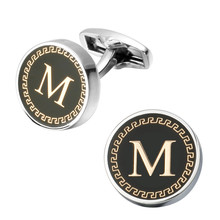 Hot fashion Jewellery English letters letter M cufflinks male French shirt cuff links for men's Jewelry Gift free shipping(China)