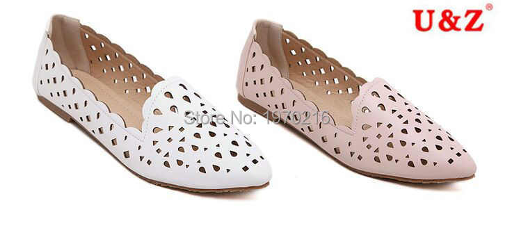 2017 matte leather Lovely laser perforation hole casual Shoes white/pink,Plus size 10 Breathable women loafers Hollow out flats<br><br>Aliexpress