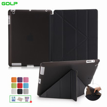 Case for iPad 2 / 3 / 4, GOLP Utra Slim PU Leather Multi-folding  Magentic Cover translucent TPU back Case for iPad 2 / 3 / 4