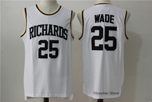 Dwyane Wade #25 Richards White Retro Throwback Stitched Basketball Jersey Sewn Camisa Vintage Embroidery Logos