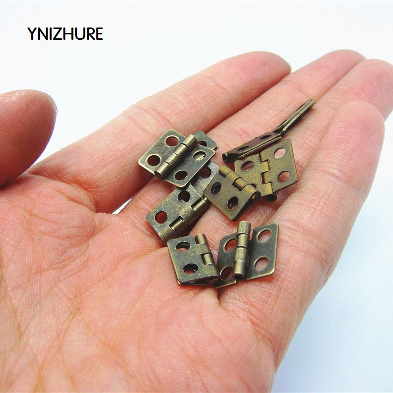 2017 Promotion Cabinet Hinges Bisagras Para Muebles Blum 50pcs 13 * 12mm Antique Wooden Gift Box Hinge Special Small Metal(China)