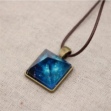 Vintage Style Dreamy Starry Sky Luminous Crystal Pendant Necklace Pyramid Cosplay Necklace Women Fashion Jewelry(China)