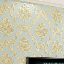 European Style Non-woven Wallpaper Luxury Damask 3D Stereoscopic Relief Damascus Bedroom Living Room Wall Paper Home Decor Paper(China)